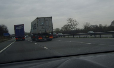 April 20 - Lorry hogging the middle lane.