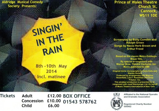 Singin' in the Rain. Prince of Wales Theatre Cannock. 8th – 10th May 2014.