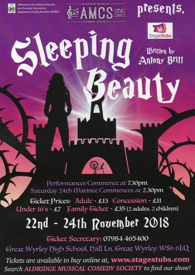 Sleeping Beauty - The Pantomime  (Coming to Great Wyrley – 22 to 24 November 2018)