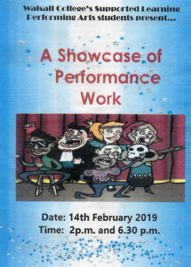 A Showcase of Performance Work – Walsall College – !4 February 2019